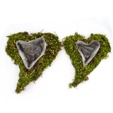 Wedding Heart Moss Covered Planter, Spring Summer Farmhouse decor