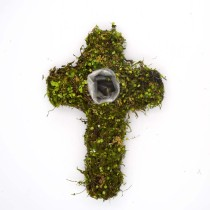 Cemetery Green Moss Cross Planter Garden Easter Decor