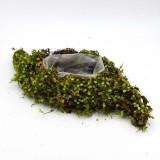 Flower Basket Wedding Decor with Liner, Fake Moss Pot Green