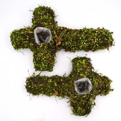 Cemetery Green Moss Cross Planter Garden Easter Decor