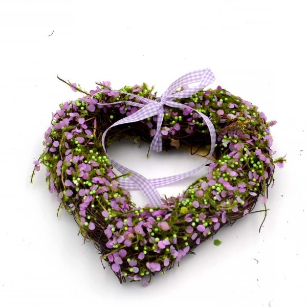 Faux Green Moss Hearts, Wreath with Ribbon, Great for Woodland Wedding Decor