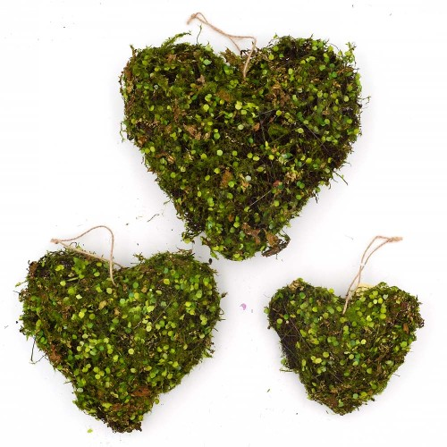 Moss Hanging Heart Ornaments, Artificial Moss Wedding Decor