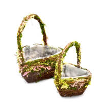 Set of 2   Heart Shaped Flower Girl Basket for Country Wedding, 12Inch