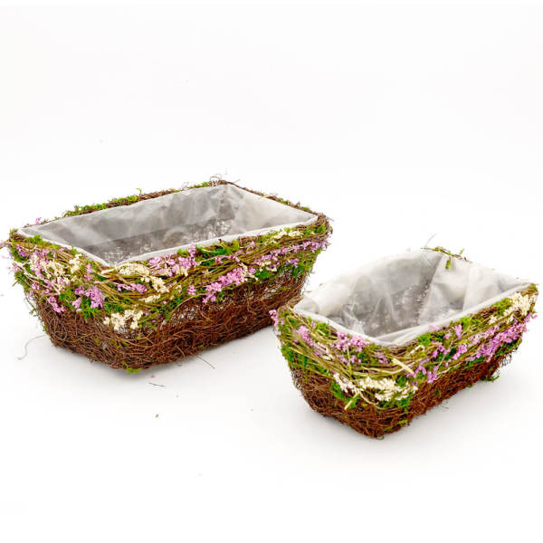 Set of 2   Rectangle Planter Herb Garden Box Flower Baskets, 11Inch