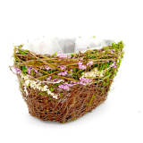 Set of 2 | Oval Preserved Natural Twig Centerpiece Planter Baskets With Moss & Dried Flower Decor, 10Inch