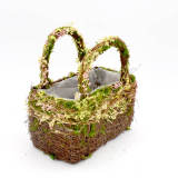Set of 2 | Twig Basket for Bouquet Centerpiece Table Decor, Handmade Purse Basket - 9Inch