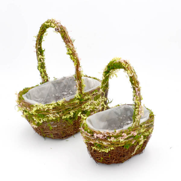 Set of 2   Oval Natural Wired Wedding Basket for Flower Girl Yellow, 12Inch