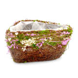 Set of 2 | Natural Twig Green Heart Preserved Moss Flower Planter Box