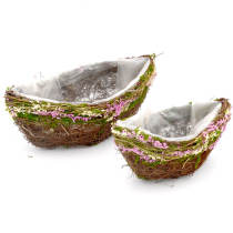 Set of 2 | Oval Boat Shape Natural Twig Centerpiece Planter Baskets for Window Decor, 12Inch