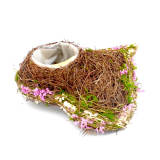 Natural Twig Rustic Brown Heart Preserved Moss & Flower Planter Box