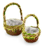 Set of 2 | Natural Twig Round Preserved Moss Planter Box with Handle, 12Inch