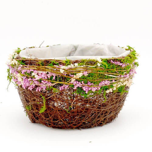 Set of 2 | Rustic Twig & Moss Round Planter Box with Pink Flower Decor - 8Inch