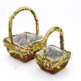 Set of 2 | Floral Flower Girl Basket with Handle for Wedding, 12Inch