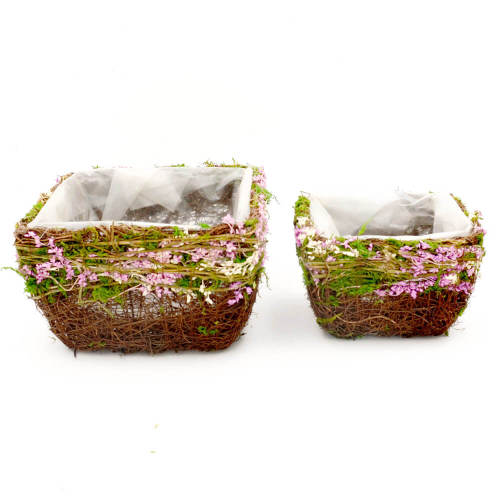 Set of 2 | Square Window Planter Box Outdoor Decor with Liner, 8Inch