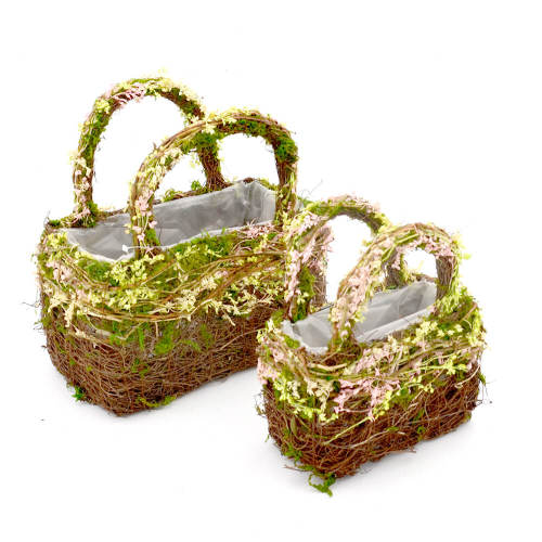 Set of 2 | Twig Basket for Bouquet Centerpiece Table Decor, Handmade Purse Basket - 9Inch