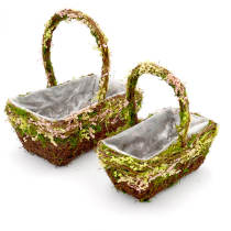 Set of 2 | Woodland Flower Girl Wired Basket, 12Inch