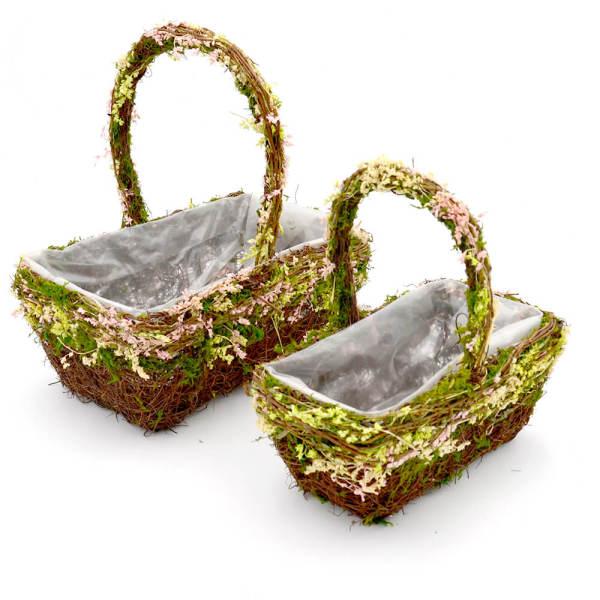 Set of 2 | Woodland Flower Girl Wired Basket, 12Inch