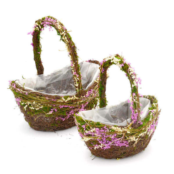 Set of 2 | Rustic Wicker Flower Girl Basket for Wedding, 11Inch