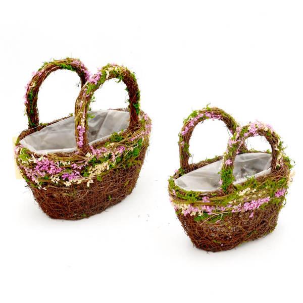 Set of 2 | Rustic Twig Purse Flower Basket Planter for Wedding, 9Inch