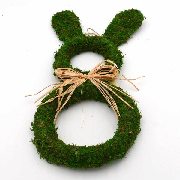 Large Moss Bunny Wreath for Easter | Spring Front Door Wreath Decoration