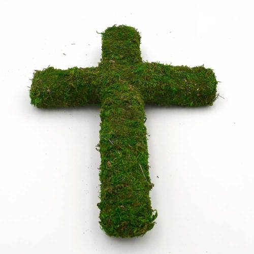Moss Covered Styrofoam, Green Moss Cross Spring Easter Decor Funeral