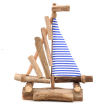 Navy Blue Sailboats Craft, Sailing Boat Beach House Decor, 16Inch