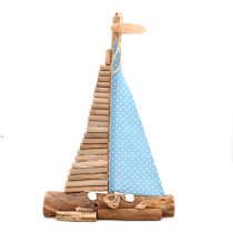 Handcrafted Nautical Driftwood Wooden Sail Boat with Sea Shells Decor, 20Inch
