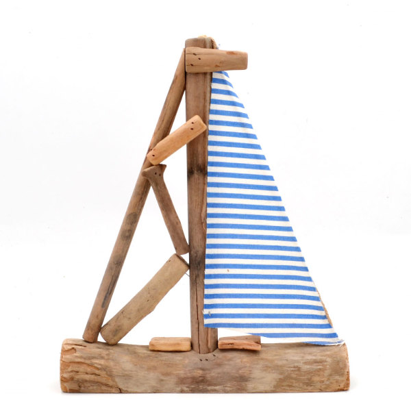 Sailing Boat Bathroom Decor, Decorative Driftwood Boat, 13Inch