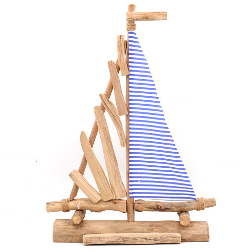 Blue Wooden Sailboat - Wedding Centerpiece, Blue Striped Pacific Sailer, Boat decor, 23Inch