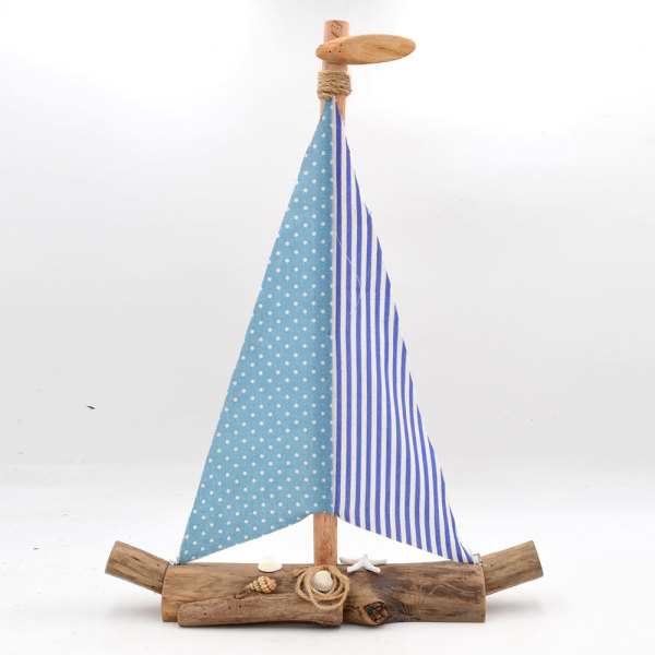 Large Wooden Boat Table Decor for Home Office, 23Inch