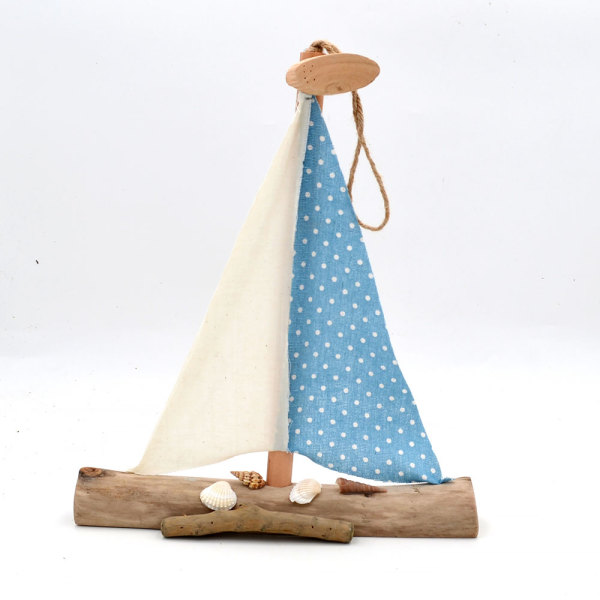 Wooden Boat Decor Wall Hanging Sailboat for Beach Theme Party, Ocean Wall Decor, 14Inch
