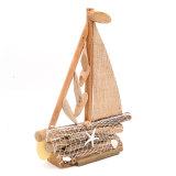 American Rural Style Retro Handicrafts Sailing Ship with Starfish Fishing Net, 17Inch