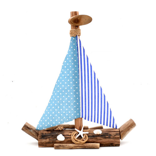 Driftwood Sailboat Centerpiece Decor, Nautical Wooden Boat Gifts, 17Inch