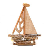 American Rural Style Retro Handicrafts Sailing Ship with Starfish Fishing Net, 17Inch
