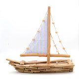 Coastal Pine Wood Sailing Boat Sculpture With Stand, Blue, 18Inch