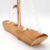 Wooden Sailboat with Seashells Fishing Net Decor, Beach Party Decorations