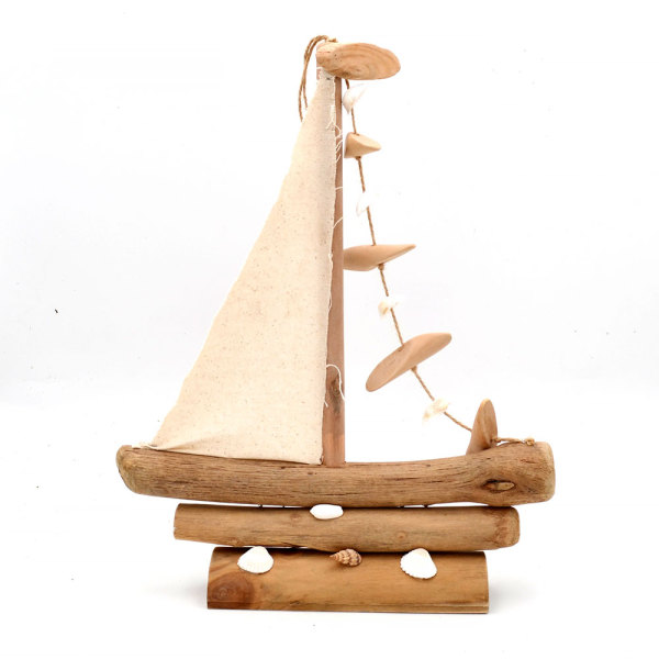 White Wooden Boat Beach House Coastal Decorations for Home, Sailboat Table Top or Hanging Display, Indoor or Outdoor Use, 16Inch