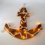 Wooden Nautical Lighthouse Anchor Wall Hanging Ornament Plaque with String Lights, 18Inch