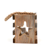 Star - 6.3 Inch Wood Lantern Candle Holder for Bedroom Decor | Vintage Wedding Gift | Mother's Day Birthday | Centerpiece.