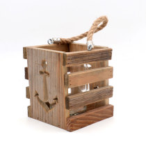 Anchor - 6.3Inch Decorative Wooden Lanterns, Tea light Holder for Hanging or Table Top Home Decor Nautical Wedding Party Accessories