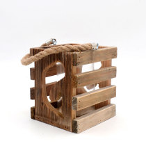 Dolphin - 6.3Inch Rustic Wood Lantern Candle Holder for Bedroom Decor, Vintage Wedding Gift, Centerpiece