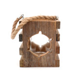 Ship Wheel - 6.3Inch Tealight Mini Candle Lantern, Decorative Wooden Hanging Lantern