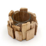 Rustic Wooden Candle Holders for Centerpiece