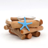 "Beach Decor, Three Pillar Candle Holder with Starfish & Shells - ""Modern Farmhouse"" Decor"