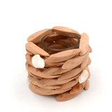 Assorted Natural Wood Candle Holders Coastal Chic Decorating