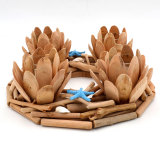 Rustic Lotus Wood Candle Holders Set for Coastal Centerpieces, Votive Holders Included