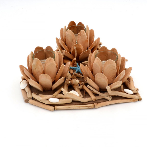 Heart Candle Holders, Wooden Lotus Tea Light Candle, Handmade for Room Decor