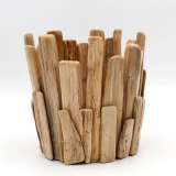 Bedroom Tall Candle Holder, Natural Wood