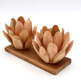 Wooden Lotus Flower Tealight Candle Holder, Wooden Tabletop Decoration