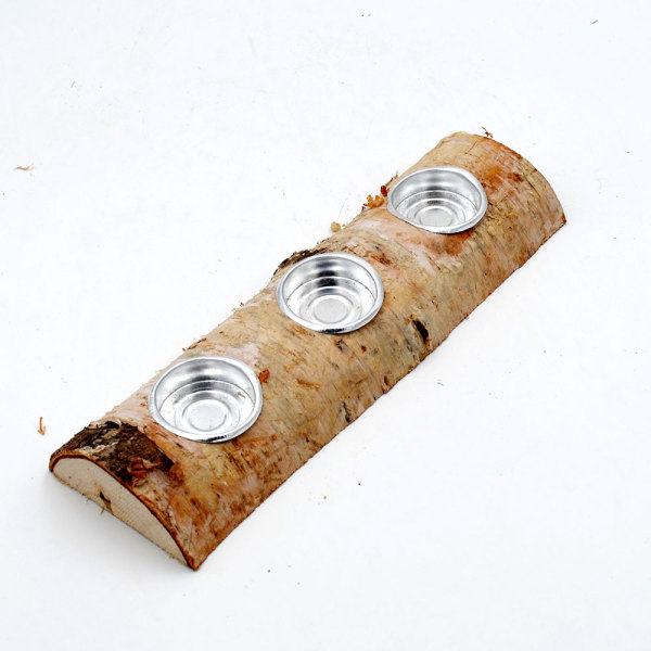 Woodland Tea Light Candle Holders, Birch Log Fireplace Candle Holder Set